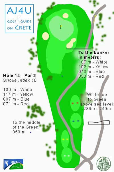 avoid the bunkers on hole 14 of the Crete Golf Course