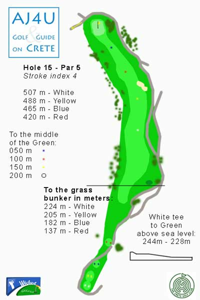 the tee box of hole 15 is the highest point of the Crete Golf course