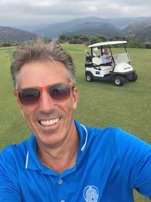 AJ on as golf guide on the Crete golf Course